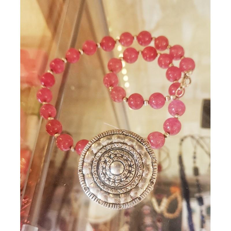 Collaret pedra natural àgata rosa