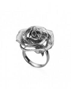anillo rosa de plata negra