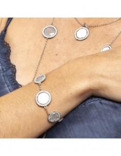 pulsera cristal azul blanco