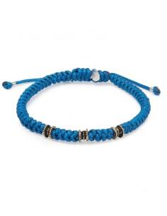pulsera cordon azul y plata